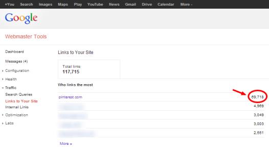 Webmaster Tools showing Pinterest links