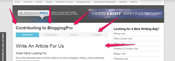 Write for Us Widget on Blogging Pro