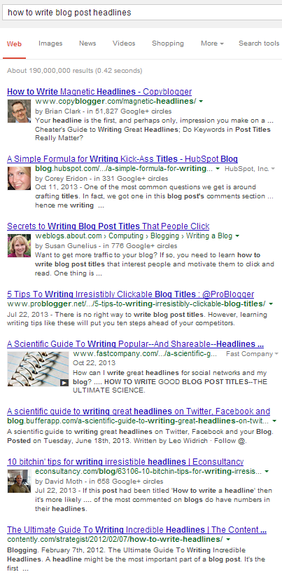 Blog Post Headline Google Search
