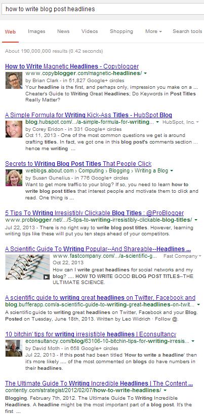Blog Post Headline Google Search